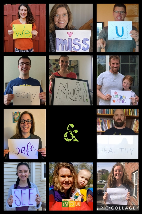 collage of staff holding up signs saying